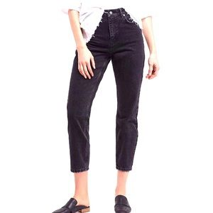 We The Free High Rise Cropped Mom Jeans Black 29 K